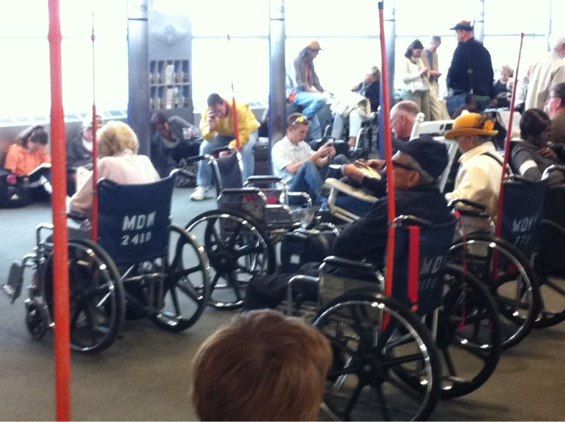 My gate looks like a wheelchair motor cross race of senior citizens.. For some reason I want to join in?