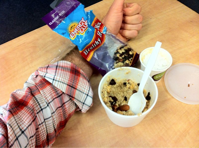 Eating trail mix, oatmeal & wearing flannel all @ the same time.. I've never felt so Caucasian/Seattle/colorado..