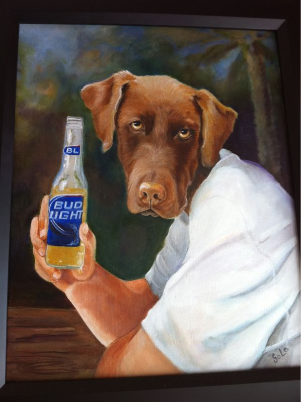 Not sure what's more disturbing.. The dog or the fact that the dog is holding up drink w/ a mans arm? See pic..