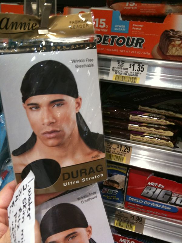 Only in s. Florida do they put do-rags next to the energy bars in the grocery store..