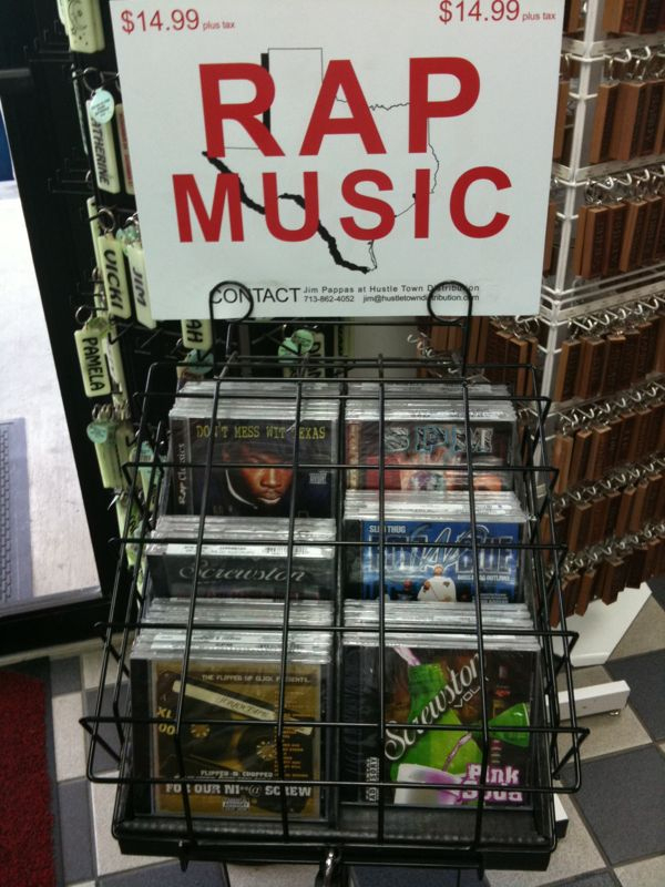 Saw this in tx. And I laughed @ the fact the rap CDs are locked in a cage!! See pic..