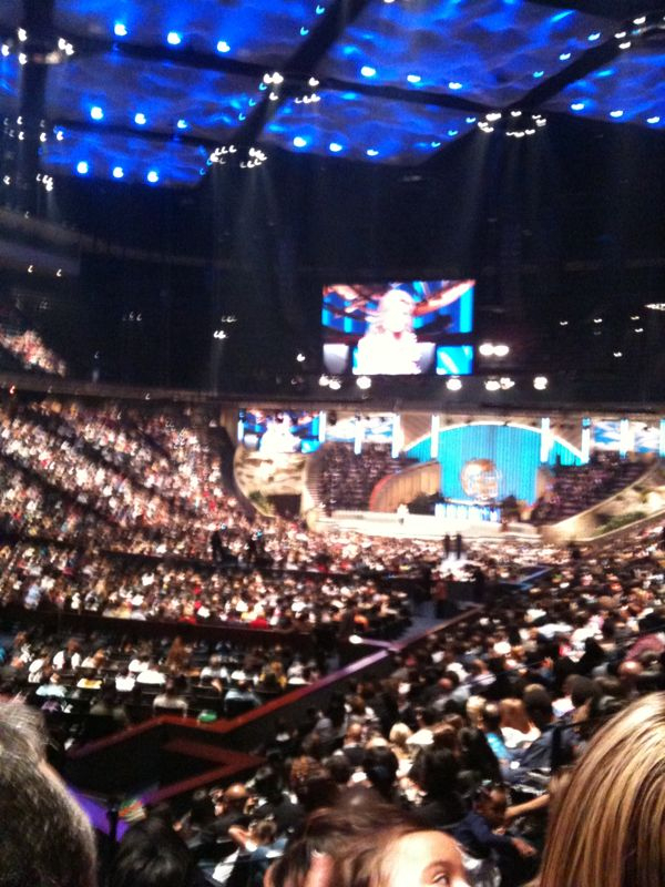 I'm @ Joel osteens church in h-town.. Think I can high 5 from mr. Osteen?