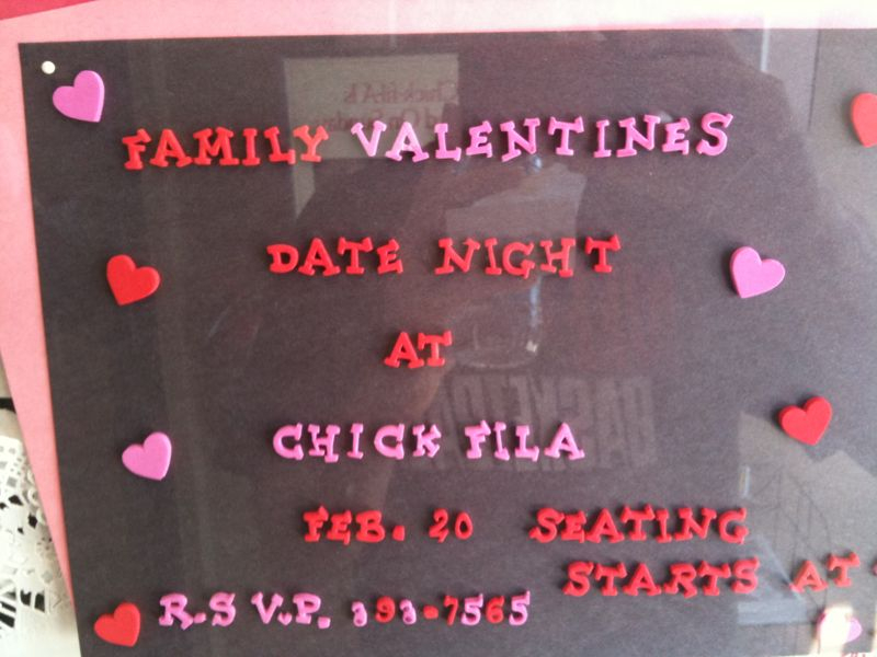 Only in the south would u see a valentines day date night available @ chick fil a.