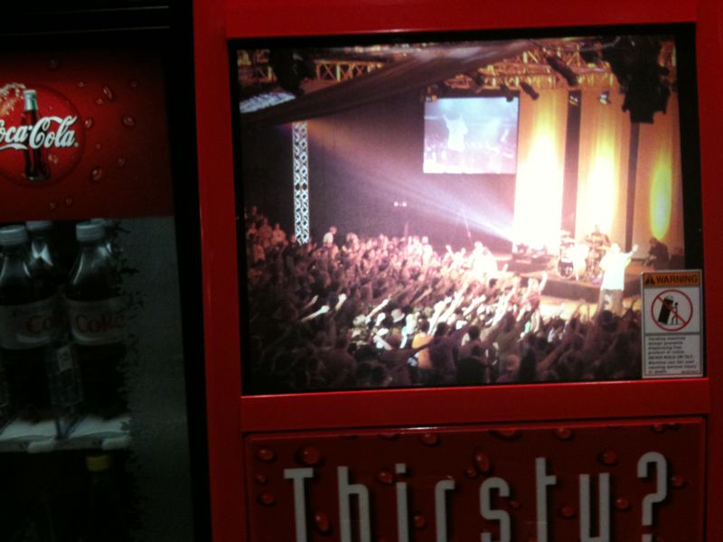 Well I'm officially a big deal.. My concert pic is on a coca cola vending machine.. Momma I made it!