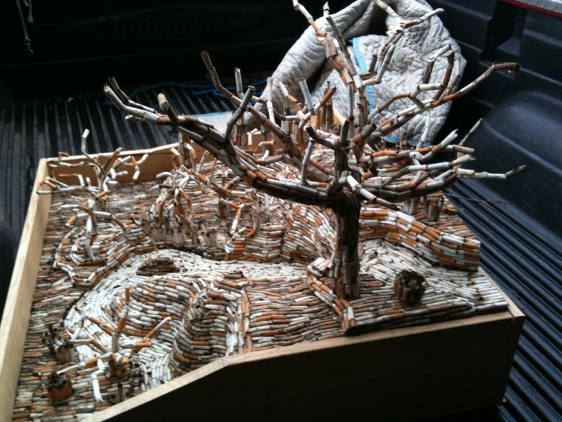This is an entire tree made from cigarette butts… Gives new meaning to lung cancer.