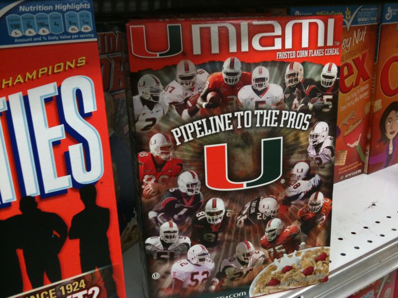 2 things that always belong in a bowl.. Univ. Of Miami cereal and univ. Of Miami football. Tha U!!