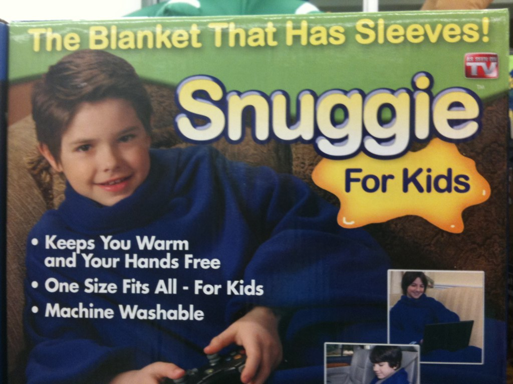 This might child abuse in it's worst form.. Snuggie for kids? This kid looks miserable..