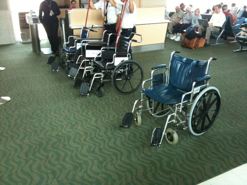 How do I find my airport gate in fla. in Oct? Wheelchairs lined up like a race and everyone looks like a golden girls episode..