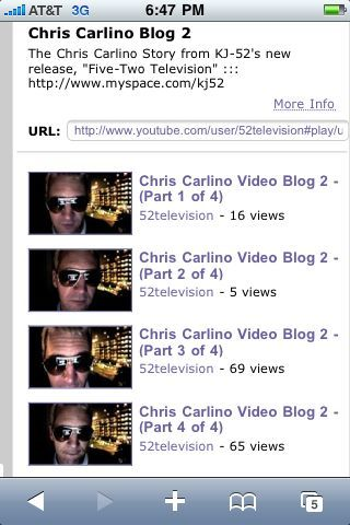 Next episode of the chris carlino story (video blog2) now posted @ www.YouTube.com/52television..check it out!