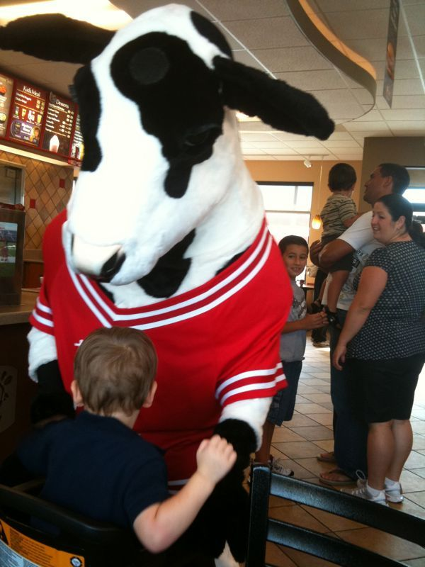 Here's a picture of my son taking out the chic-fil-a cow with one swift punch! Get em!
