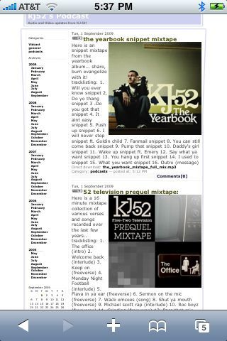 """2 brand new free mixtapes now available @ www.kj52podcast.com (the yearbook snippet"""" and """"the office"""")"""