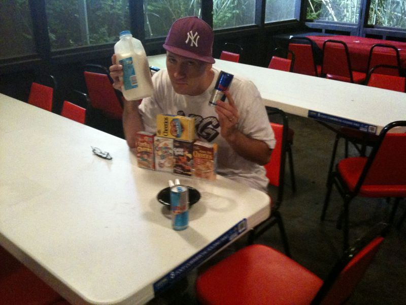 Who's got 2 thumbs and loves red bull and cereal? This guy..