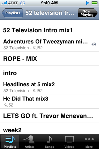 Finally finished the new kj album! 52 television in stores sept 22nd.. Here's a screen shot of some of the songs.