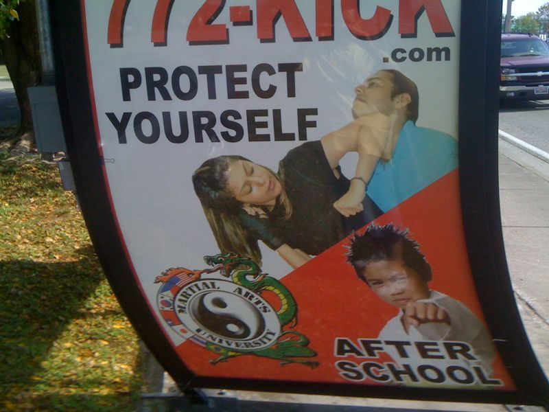 This might be the best and worst ad for a karate school ever! What's up with the girl and little boy?