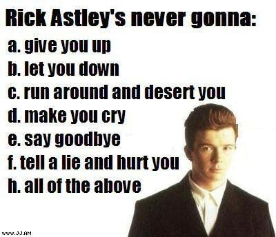 Thank God rick astley promises to do the following: (we appreciate it rick!)