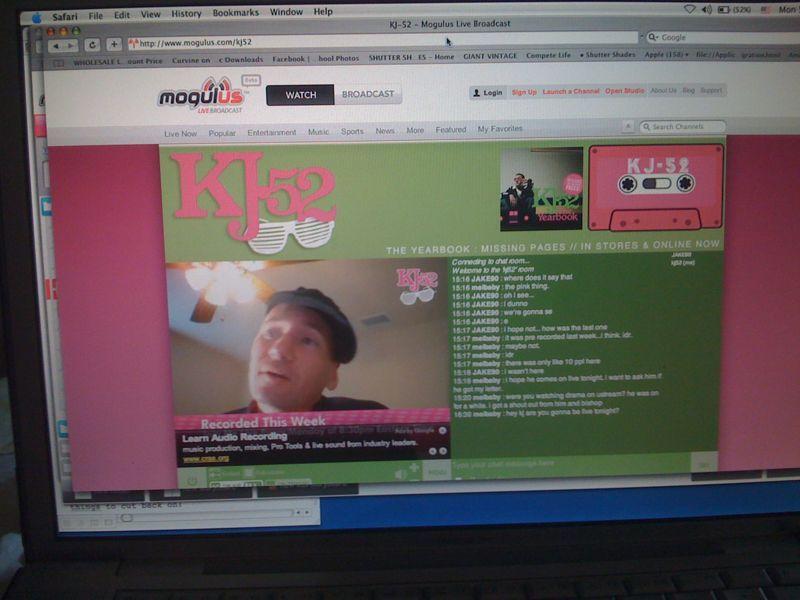 Live video chat/podcast tonight @ 830pm (est) @ www.mogulus.com/kj52.. Holla!