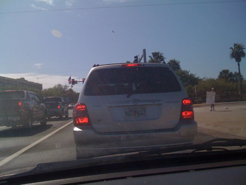This lady just did a no signal 3 lane change and cut right in front of me.. Florida = worst drivers ever! Ironically she has a massive gash on her car