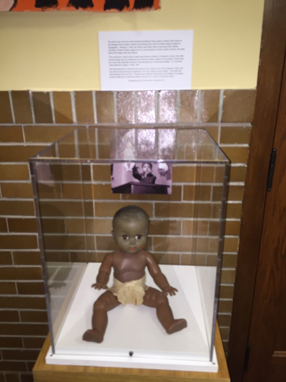 "This doll was used to show the debilitating effects ""seperate but equal"" had on the minds of young black children .. Black Kids at the time  associated dark with wrong and/or inferior in spite of the quote unquote seperate but equal educational system.."