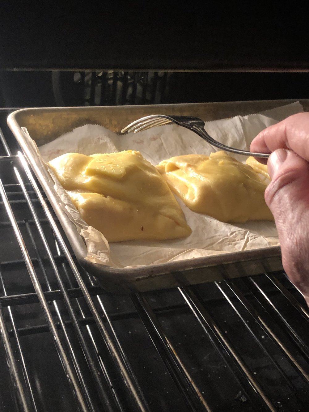 Melt some butter on top at 6 min. Cool for another 6.