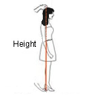 Height Measure from head to floor with the shoes you are going to wear for your wedding or event.