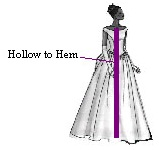 Hollow to Hem (For the Front of the Dress) Please stand straight against a wall, mark where your collarbones are, and then measure from the marking down to the floor. You will need to take the measurement with the exact shoes you will be wearing. If you are ordering a short dress, then please measure from your collarbones to the end of the dress (hemline).
