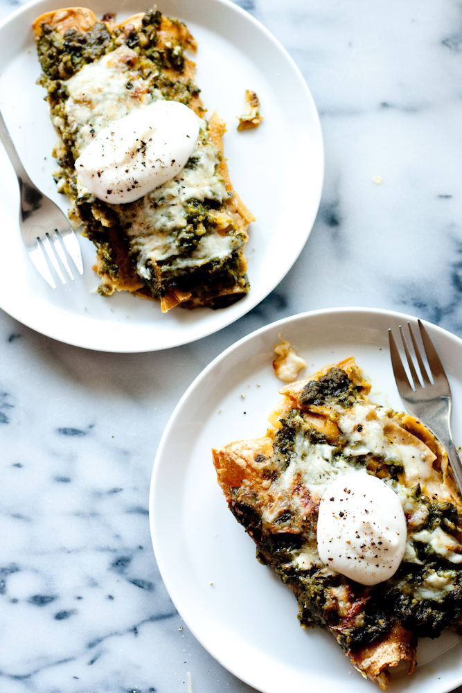 roasted poblano + chicken enchiladas