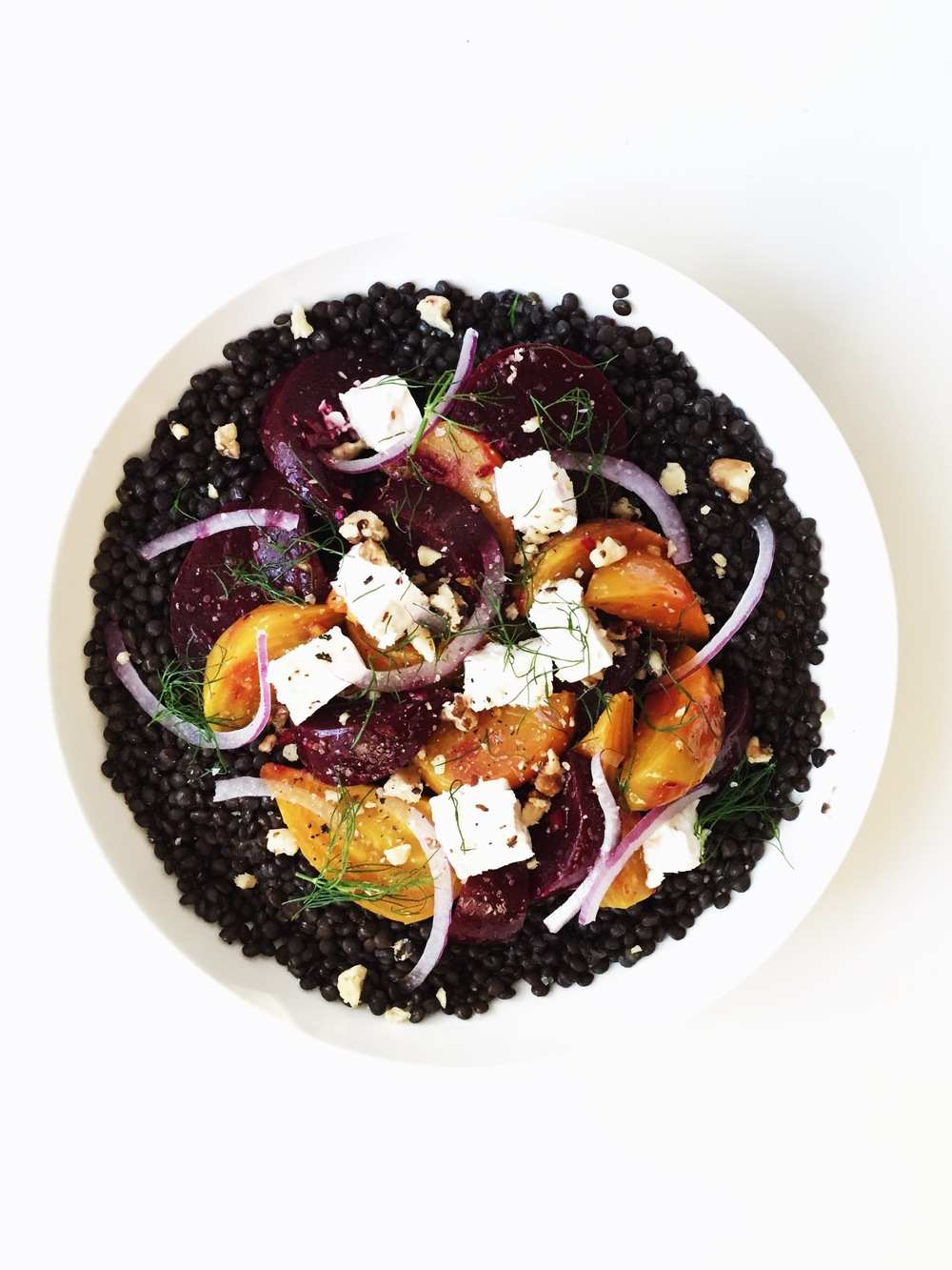 black lentils with marinated beets + feta