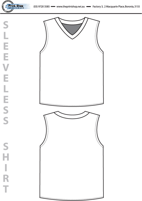 The Print Shop Sleeveless Shirt Template