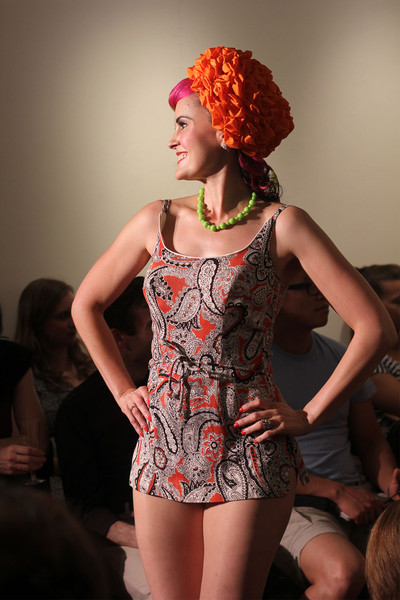 Me on the catwalk in a 50s bathing suit and hat from Over The Top Vintage