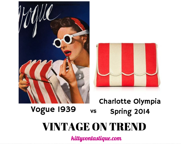 Vogue 1939 vs Charlotte Olympia Spring 2014  Today's Vintage On Trend was actually pointed out to me by the lovely Lotta Dahl on Pinterest. I had pinned the pic on the left from Vogue 1939 and Lotta linked me to the pic on the right, from Charlotte Olympia Spring 2014. Pretty amazing I think! Thanks again Lotta! :)