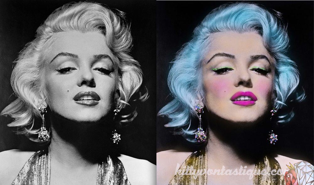 Marilyn Monroe - Reimagined as an ice-blue haired, rockabilly diva