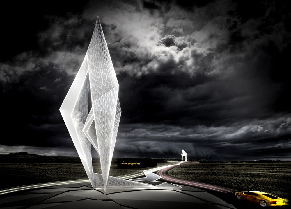 Lamborghini Road Monument, SPANS associates, Architects Engineers, Nicolas Sterling, Elke Sterling Presser, Everything Flows, Associative design, Berlin, International studio
