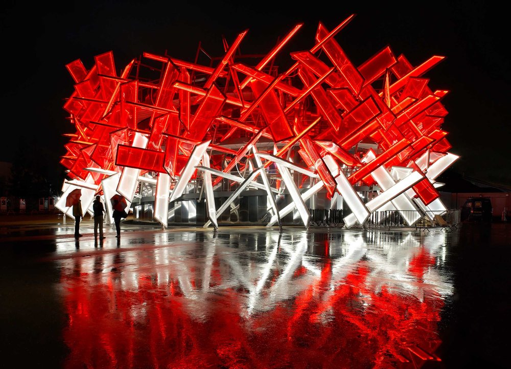 Coca Cola Beatbox Pavilion, Olympic park, 2012, AKT II, Asif Kahn / Pernilla Ohrstedt