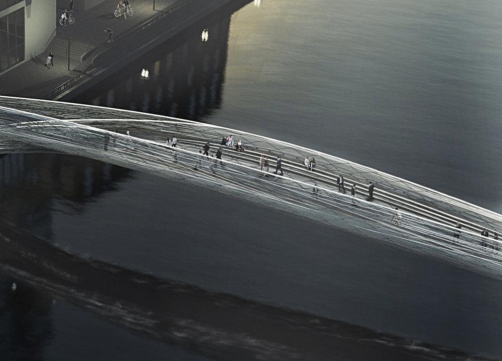 Brommy New Footbridge, Berlin, Germany, SPANS associates, Nicolas Sterling, Elke Sterling Presser, Architects, Structural Engineers, Footbridge, Alles Fliesst Everything Flows