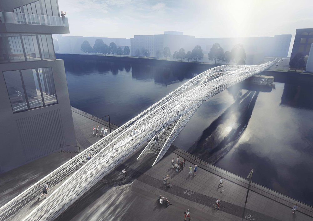 "Brommy New Footbridge, ""The Flowing Bridge"", Berlin, Germany"