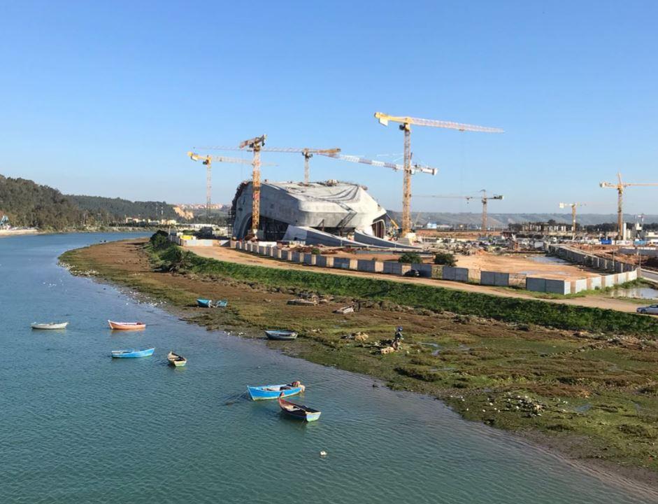 Grand Theatre de Rabat construction from Hassan II Bridge, Morocco.Image Copyright AKTII