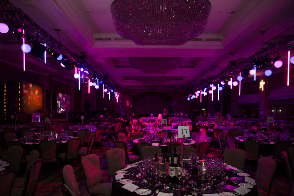 Creventive Hilton Park Lane Stonewall Charity Dinner Design Production Lighting Sound AV