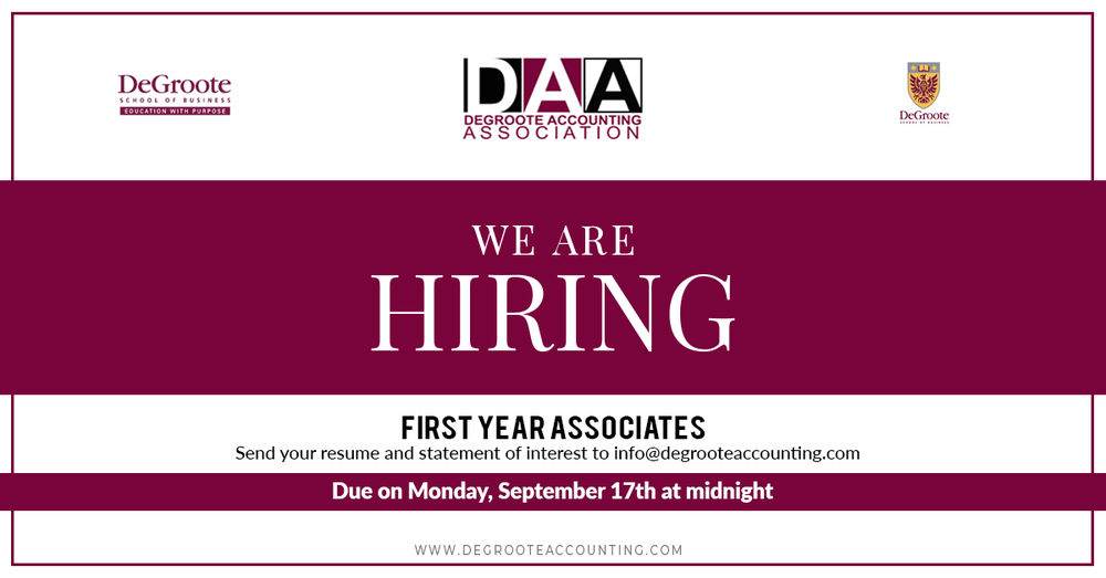 Hey first years! Interested in becoming more involved with the DeGroote Accounting Association? The DAA is hiring First Year Associates to join the executive team. Come by our booth at the DCS cookout today to learn more!  Link to more info on the position: https://docs.google.com/document/d/1sbzaLG-ex-OR4bnurUqau503TYxj_2RmhT6Jmsf1T8M/edit?usp=sharing   Please submit a statement of interest and your resume by Monday, September 17th, 2018 at 11:59pm to info@degrooteaccounting.com