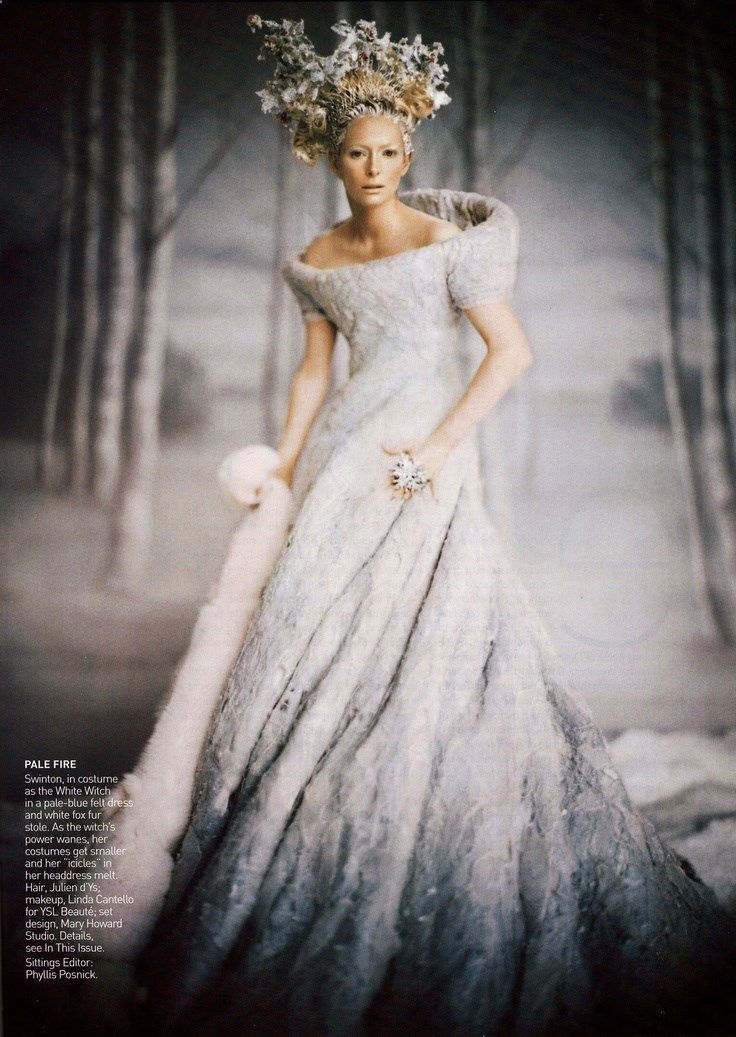 Tilda Swinton In costume as The White Witch Of Narnia. Photographed by Annie Leibovitz for Vogue magazine