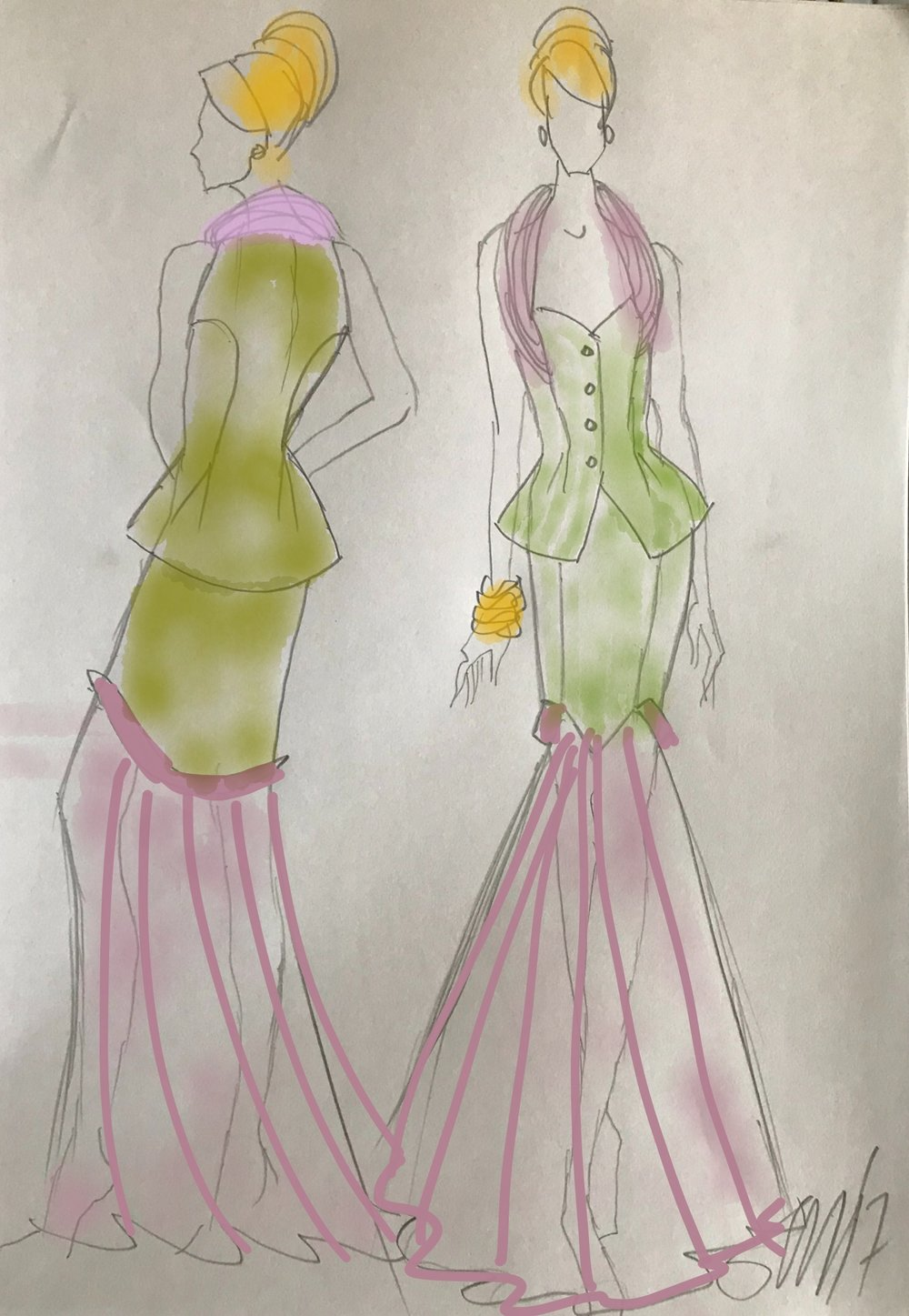 The sketch of my entry - Champagne At The Waldorf