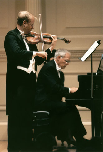 John Owings and Fritz Gearhart during Casadesus Centennial Concert at Weill Recital Hall at Carnegie Hall.