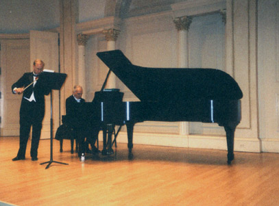 John Owings rehearses with Fritz Gearhart prior to their all-Prokofiev recital at Weill Recital Hall at Carnegie Hall, October 26, 2003.