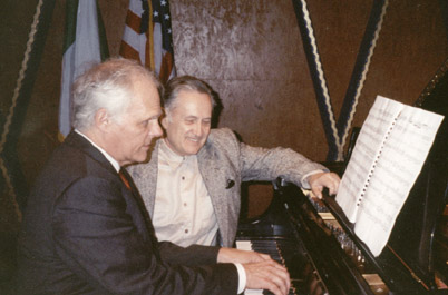 "John Owings, with Luis Jorge Gonzalez, prepares his performance of the composer's Sonata ""Del Plata"" for the TCU Latin American Music Festival in April, 2002."