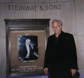John Owings outside Steinway Hall, New York, during his trip for his Grieg performance.