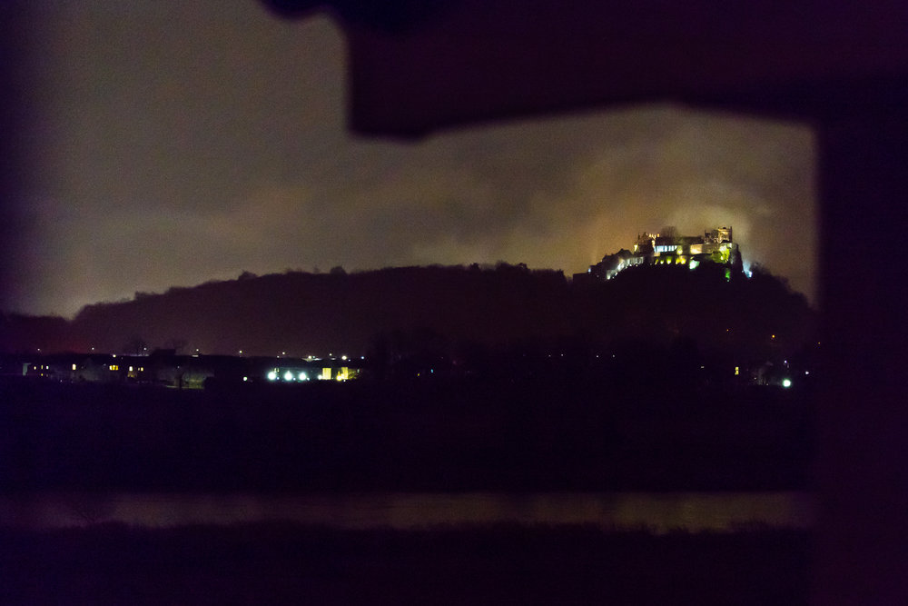 Stirling Castle by night in the mist from my pillow. ISO 6400 70mm f2.8 1/30s