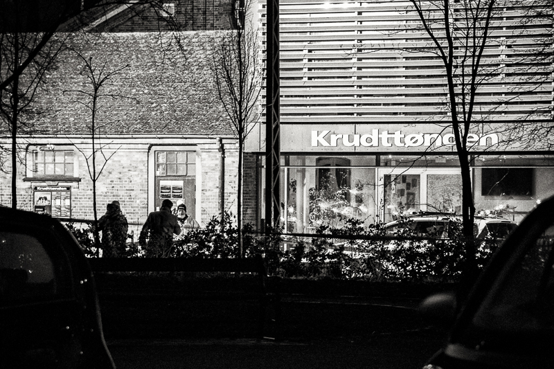 "Saturday 14th 2015 (Evening) - Forensic police collect evidence by the bullet riddled main entrance at the Culture Center ""Krudttønden"" (""Powder Keg"") a few hours after the terror attack."