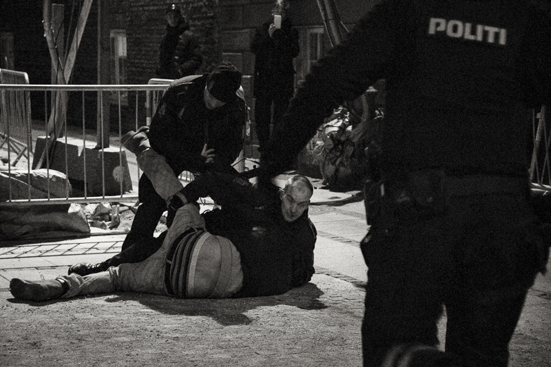 Sunday 15th 2015 (around 2am) - Man resisting arrest after ignoring police instructions and police cordon near Nørreport Station is struggling with the police, that needed reinforcement to handcuff him. An hour an a half before a second shooting attack had taken place by the Jewish synagogue.
