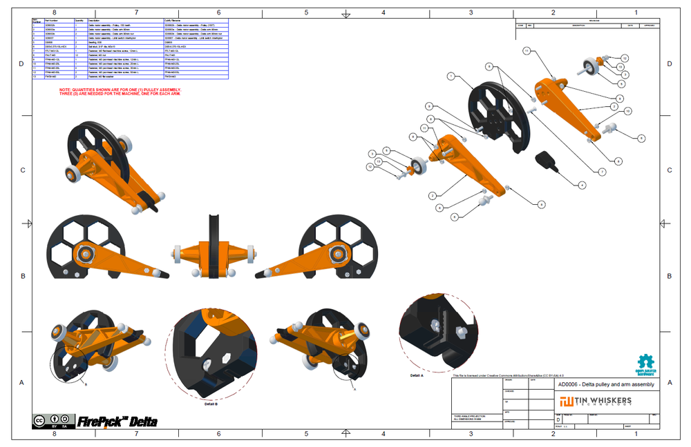 AD0006 - Delta pulley and arm assembly