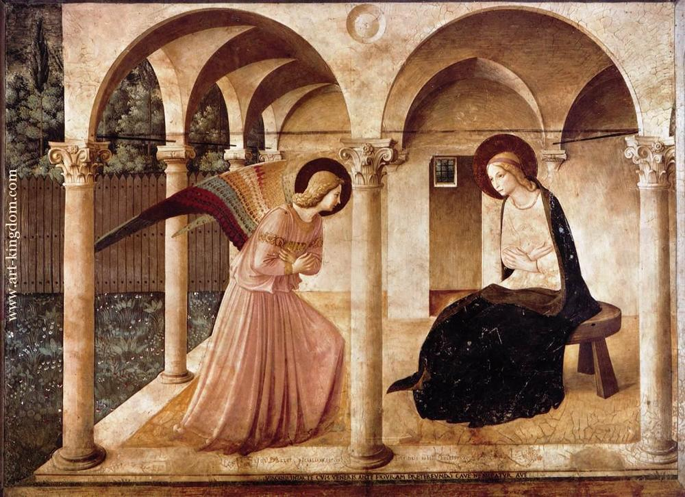 "Fra Angelico's ""The Annunciation""  http://www.art-kingdom.com/upload/39211.jpg"