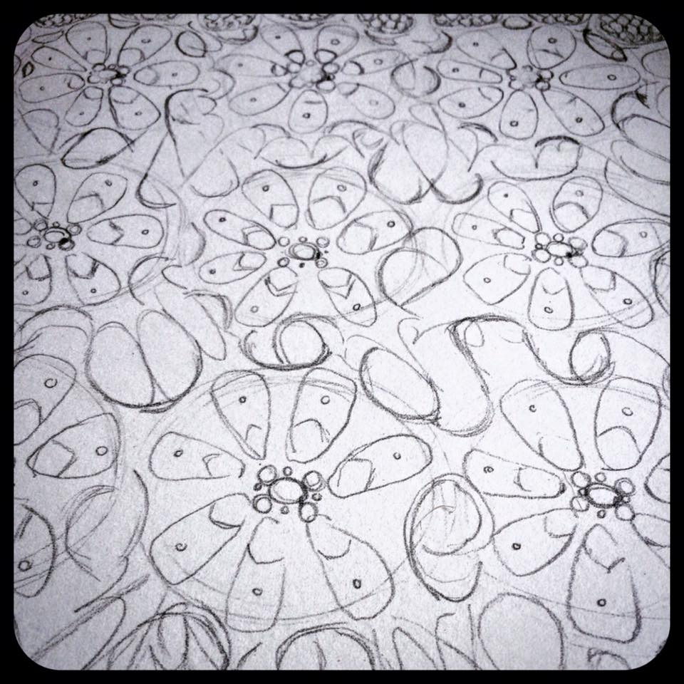 Day 3: Pattern elements in pencil on paper. It's probably the most important part of the design process because it's giving me the underlying structure for everything that will be added later... like a blueprint!